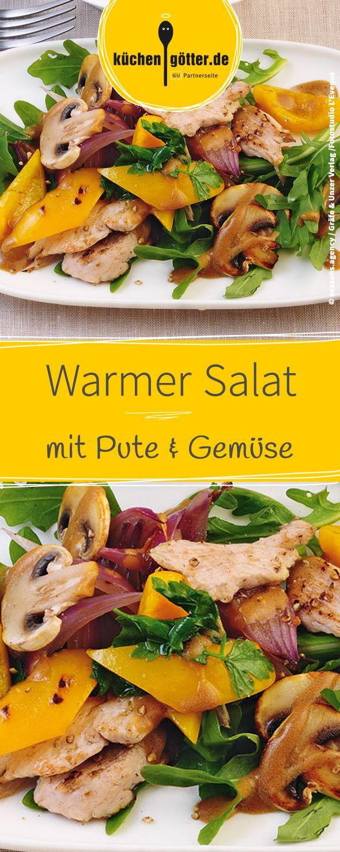 Rezept für warmen Puten-Gemüse-Salat.