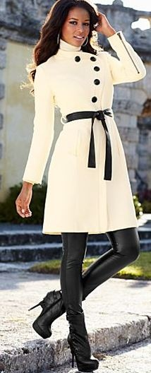 Off White Asymmetrical Buttoned Coat