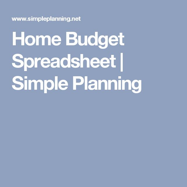Home Budget Spreadsheet | Simple Planning