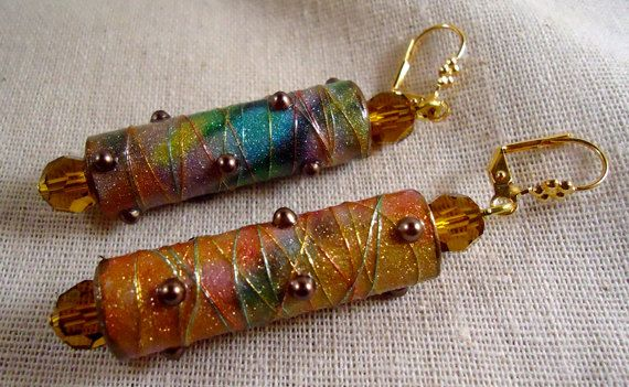 Sparkling Multicolored Paper Bead Tube by ItsyBittyPretties, $15.00