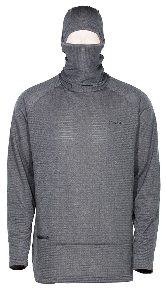 Rotor Pullover Hoody - Heather Charcoal. The Rotor Pullover Hoody features a patented knit construction offering class-leading breathability and compressibility. Built with Polartec Power Dry high efficiency fleece, balaclava hinged hood construction, lightweight YKK zipper, and permanent odor resistance. | ARMADA #Hoodie #Pullover #Armada