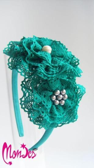 Diadema eventos de puntilla color verde menta