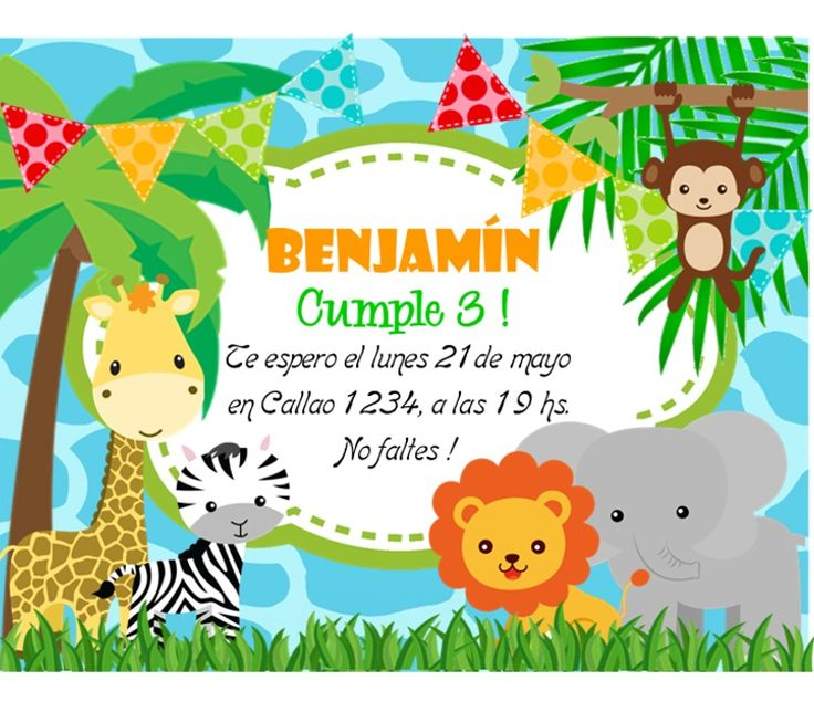 (8) Kit Imprimible Animalitos De La Selva Invitaciones Candy Bar - $ 44,99 en MercadoLibre