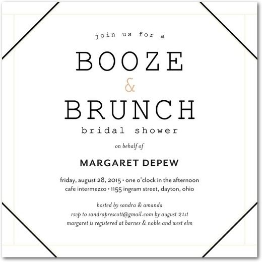booze u0026 brunch signature white bridal shower invitations umbrella white front