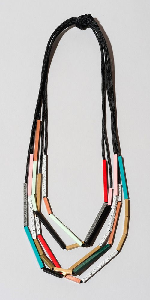 Iacoli & McAllister Necklace No 11-01 powder-coated and uncoated brass and copper square tubing on poly rope, $285.00