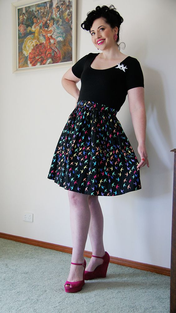 The popular 'High Tea' skirt is made from crisp 100% cotton and has a button and zip closure that can be worn at the centre back or the left hand side.Length from waist to hem: 53cmThis garment is ready to ship.MADE IN AUSTRALIAModel: Candice DeVille - http://www.superkawaiimama.com.au/ADDITIONAL INFORMATION: My studio is smoke and pet free. All garments are professionally made and all seams are serged (overlocked).This garment can be handwashed in warm water...