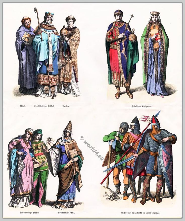 Costume and Fashion History of the 11th century. The Middle ages fashion period.