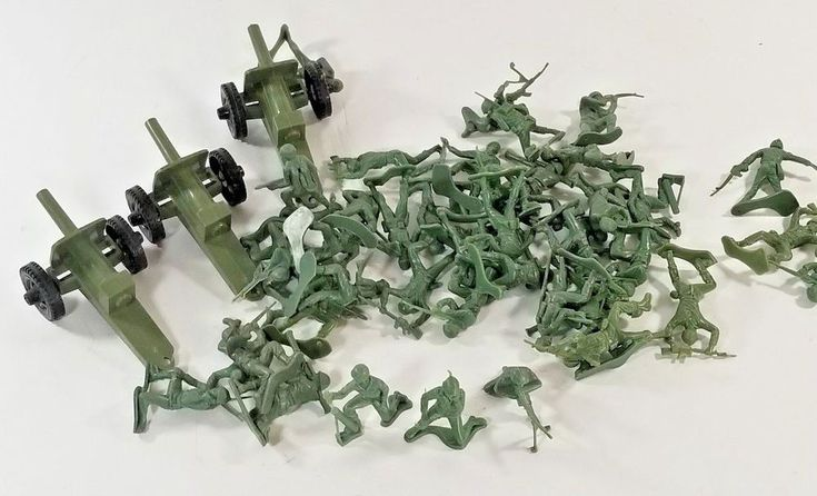 3 vintage Tim Mee Howitzer Cannons Plus 43 Army Guys Soldiers Military Men #TimMee