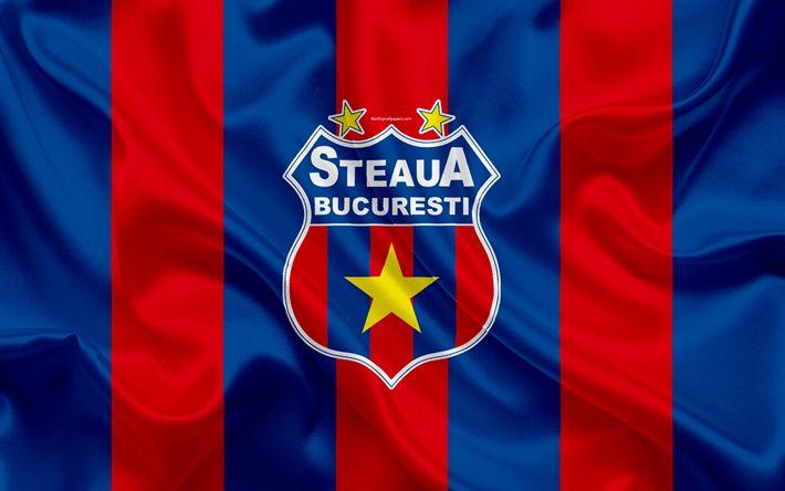 Download wallpapers FC Steaua Bucharest, FCSB, 4k, Romanian football club, Steaua logo, silk flag, Romanian Liga 1, Bucharest, Romania, football