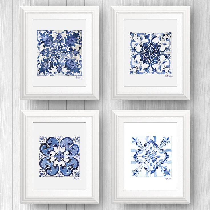 Portugese azulejo tile art print set   Blue and White