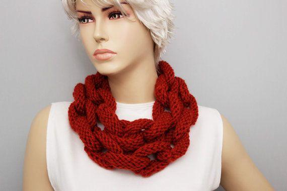 mattoni di terracotta lariat sciarpa, sciarpa di Knited catena anello cerchio collana lariat, lariat lunga sciarpa a maglia