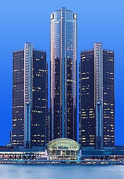 Renaissance Center, Detroit. We ate on the top floor in the rotating restaurant.