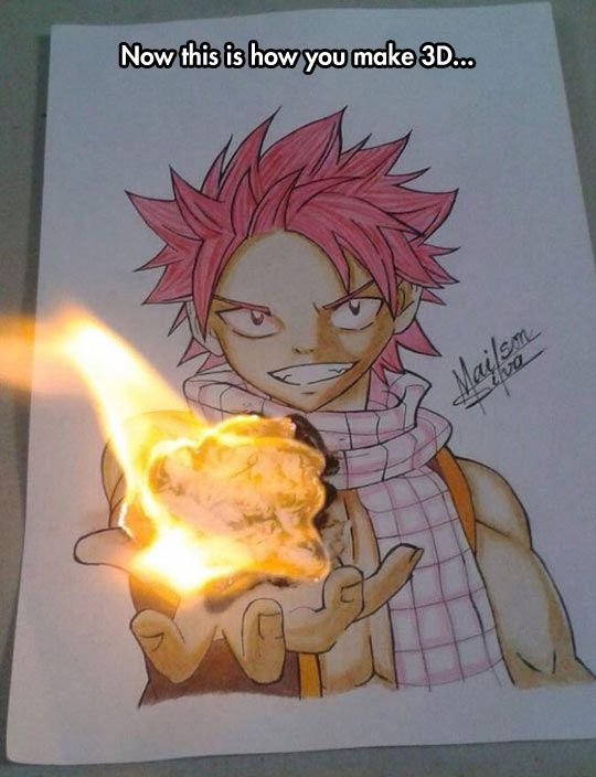 Teach Me, Senpai <<< They set the paper on fire above his hand... You can tell because on the left side, it goes over the edge of the paper.