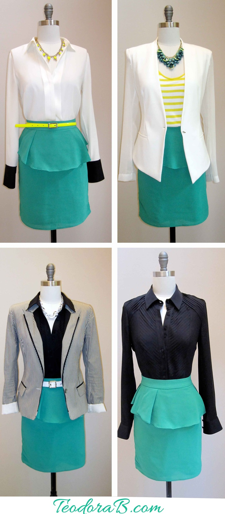 One skirt - sooooo many ways to style it for your business meeting. I especially like the last 2: Green Skirts, Skirt Addict, Neutral Colors, Fashion Styles, Neutral Skirt, Skirt Transformed, Office Skirts, Peplum Skirts