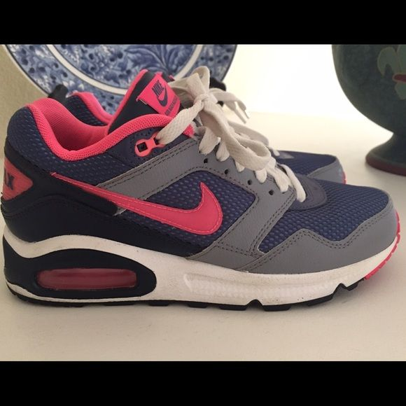 Pink and Purple Nike Air Max Sneakers! EUC Nike Air Max Sneakers!!! Size 7.5, they've only been worn a few time indoors! Almost no signs of wear except for a tiny bit of gum stuck on the sole shown in the 3rd pic  Nike Shoes Sneakers