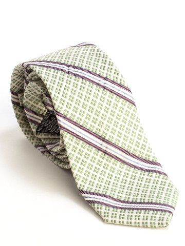 Elizabetta | Italian Luxury Woven Stripes Silk Cotton Tie-Greenluxurious moss green and white textured weave with plum and white stripes. Classic and beautiful. Handwoven and handmade in Como, Italy | See more about Silk, Cotton and Stripes.