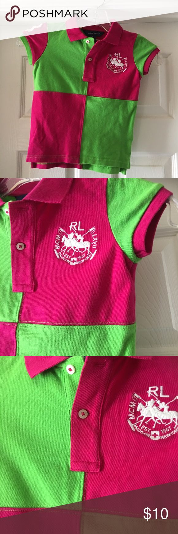 Ralph Lauren Lime Green & Hot Pink Polo Shirt. Ralph Lauren Lime Green & Hot Pink Polo Shirt. Logo on chest. Number 3 on the back and on the sleeve. Great condition! Cotton/Elastane. Pullover. Ralph Lauren Shirts & Tops Polos