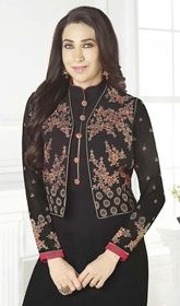 Karisma Kapoor Black Color Georgette Churidar Suit #bollywoodsuitsonline #bollywooddesignerdresses2016 The woman is the most perfect doll to be dressed as with delight and admiration as Karisma Kapoor with this black color georgette churidar suit. It's uniquely crafted with lace, patch and resham work. USD $ 89 (Around £ 61 & Euro 68)