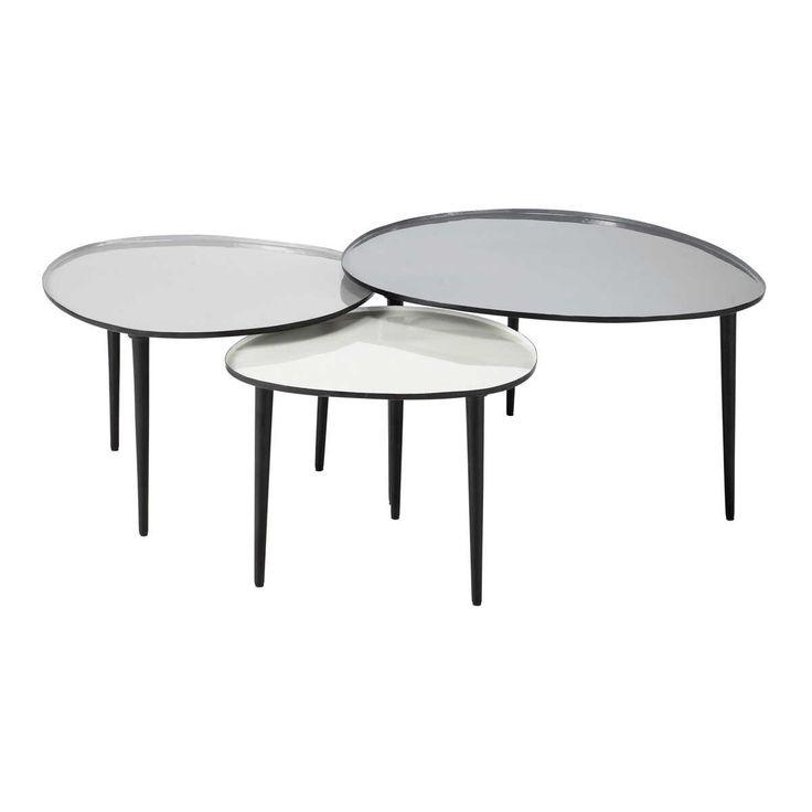 3 tables basses gigognes en métal L 59 cm à L 75 cm Galet | Maisons du Monde