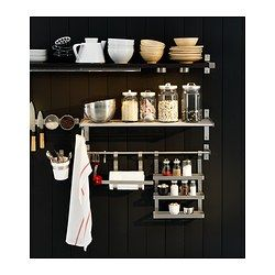 "Consider for area near stove instead of a cabinet? GRUNDTAL Wall shelf - 31 1/2 "" - IKEA"