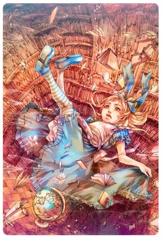 Alice no País das Maravilhas ilustrada em mangá por Andrea Jen.