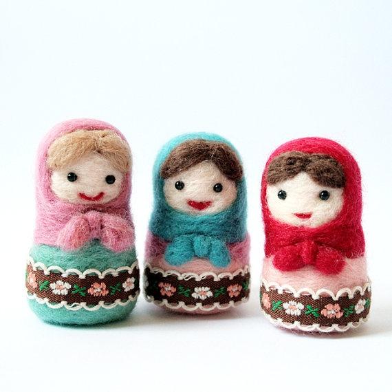 needle felted matryoshka dolls