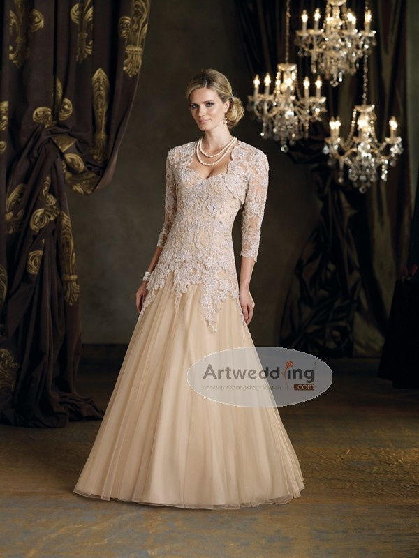 Floor Length Lace over Tulle Princess Mother of the Bride Dress with Jacket