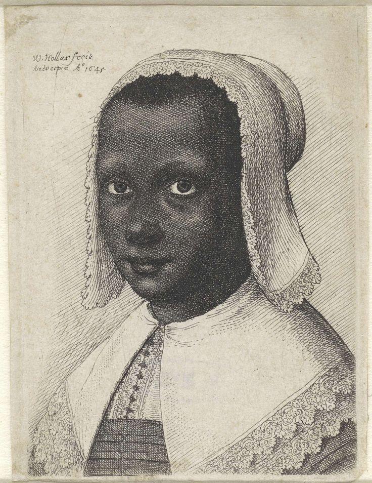 Portret van een zwarte jonge vrouw met kanten hoofdkapje en bijpassende kraag, Wenceslaus Hollar, 1645