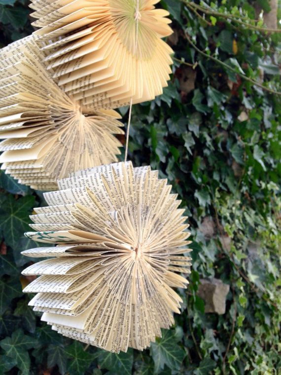 Hanging Book Bursts-Set of 3-Repurposed-Recycled-Reused-Wedding Decoration-Paper ornaments-Christmas Decor-Holiday-Baby Shower on Etsy, $24.00