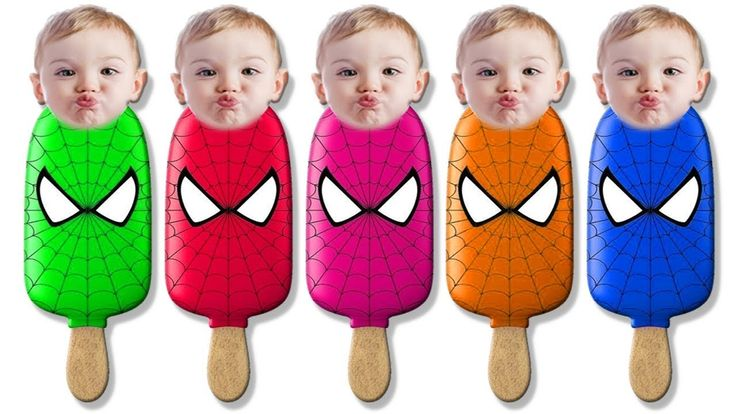 Learn Colors with Bad Baby Crying for Children Toddlers & Spiderman Ice ...