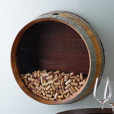 Reclaimed Wine Barrel Head Cork Collectors Display at Wine Enthusiast - $299.95