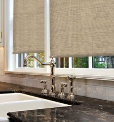 Kellie Clements Simply Chic Roller Shades: Texture/ purchase through Blindsgalore.  Color is Jute Filigree