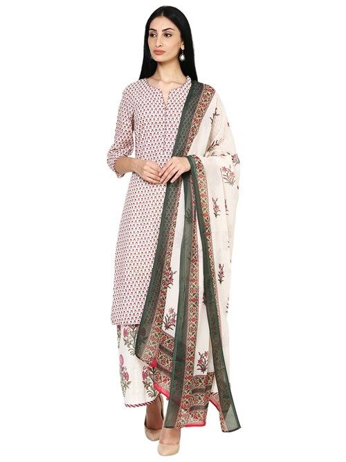 Buy Online Off White Straight Cotton Suit Set for Women & Girls at Best Prices in Biba India-SKD5110