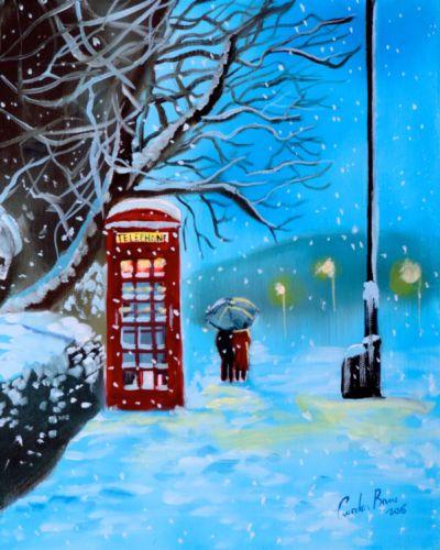 Snowy-London-red-phone-box-original-oil-painting-Gordon-Bruce-new-UK-art