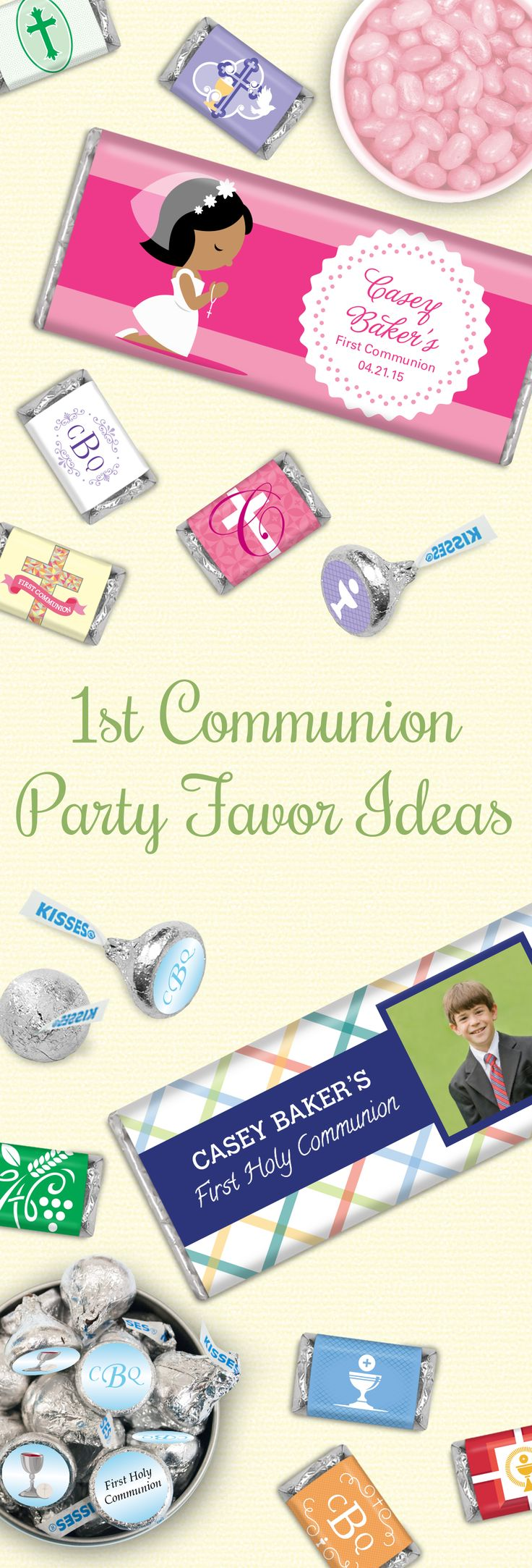 First Communion Party Favor Ideas for Boys and Girls - Personalized Chocolate for 1st Holy Communion Candy Buffet and Jelly Belly Jelly Beans in Pink or Blue