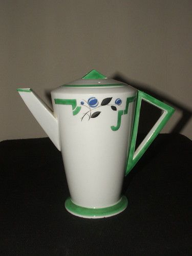 SHELLEY ART DECO MODE GREEN J RARE FOOTED COFFEE POT