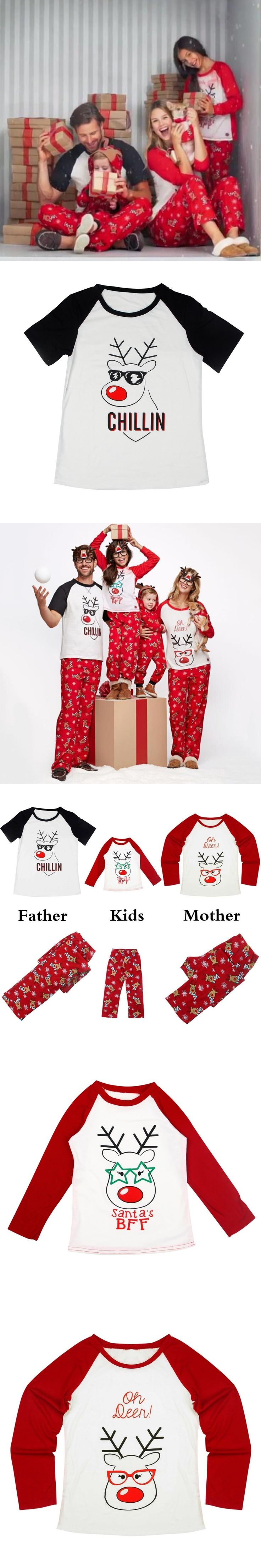Family Christmas Pajamas Christmas Winter Look Parent-child Set Christmas Deer Stitching Printed 4Size Sleepwear For Family