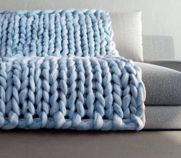 Chunky Knit Blanket - ice blue - light blue - Chunky Knit ...