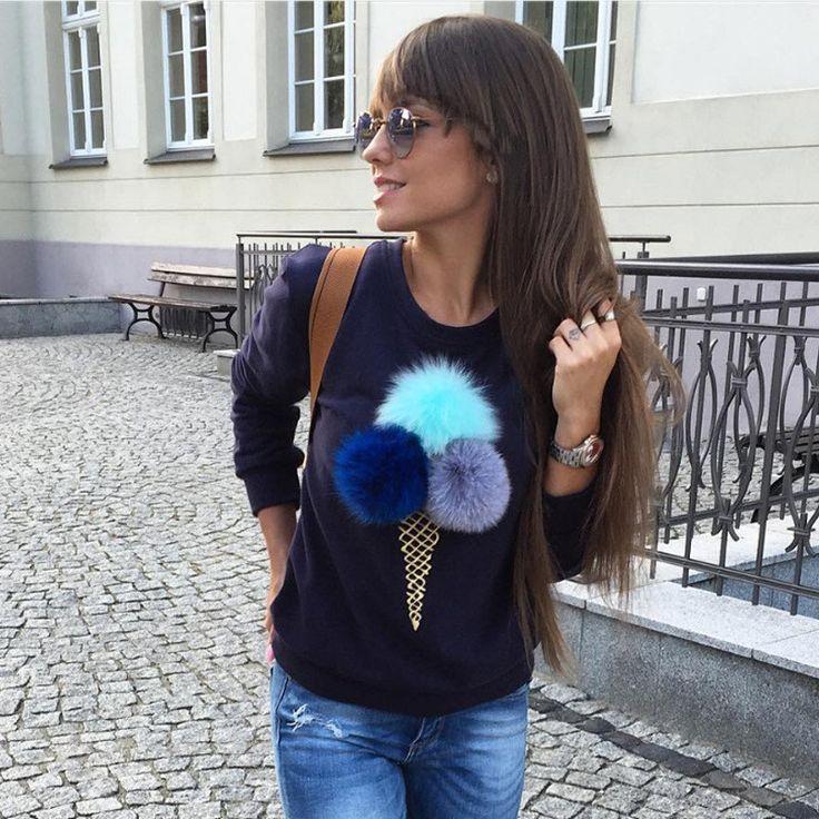 Missufe Plain Blue Cotton Women Jumper Sweatshirt Colorful Ice Cream 3D Artificial Fur Plush Ball Casual Women Tops Pullovers
