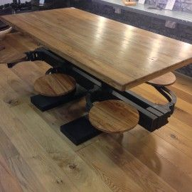 Reclaimed Teak Custom Retro Industrial Swing Arm Dining Table Handmade UK  Cast Iron And Solid Reclaimed Teak High Quality Recycled Materials