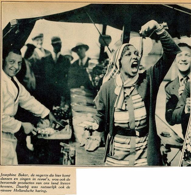 Josephine Baker met Hollandse Nieuwe-haring-  1932 by janwillemsen, via Flickr