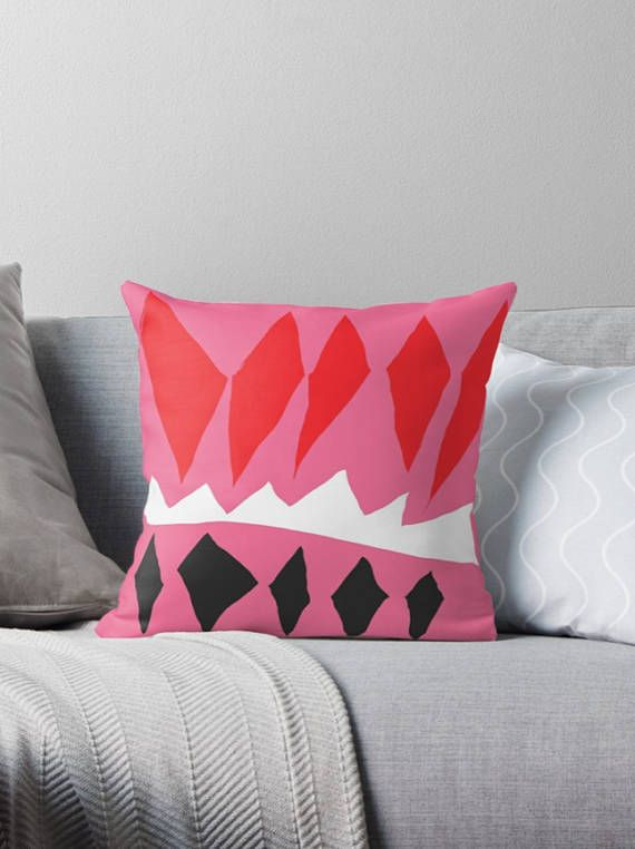 Decorative pillow cover - Pink and red pillow - Original pillows - scandinavian pillow  Add a touch of modernity to your space with this decorative pillow cover. All you need is an old pillow or new pillow insert to fill it out beautifully. It is the perfect size for placing on a sofa or