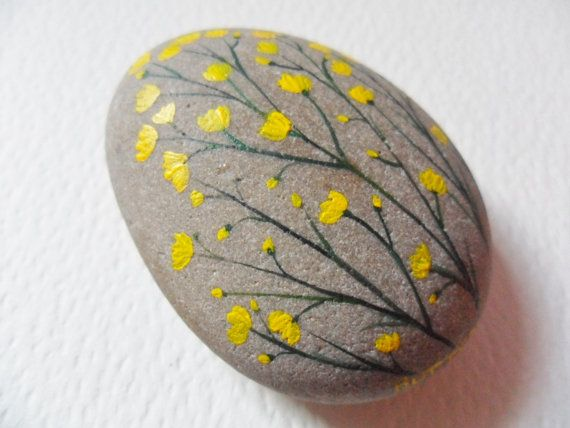 Buttercups - Hand painted paperweight - Acrylic miniature painting on a large beach pebble