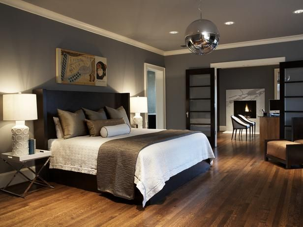 Stylish-Bedroom-in-blue: Decor, Discos Ball, Wall Colors, Bedrooms Design, Masterbedroom, Grey Wall, Master Bedrooms, Design Studios, Bedrooms Ideas