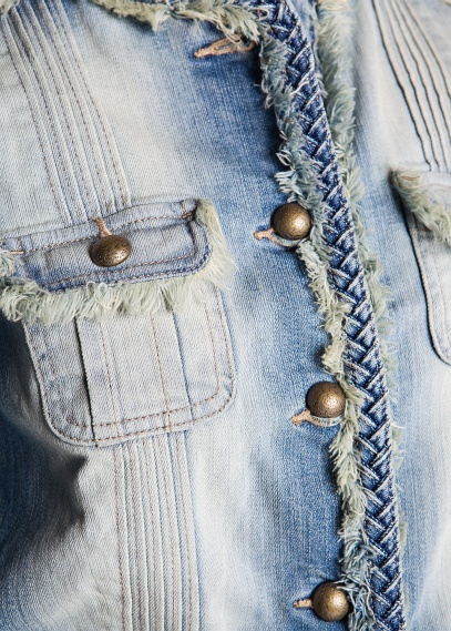 MANGO - Woven trimming denim jacket. Deb: I love the idea of the seam being braided and used as a purse strap