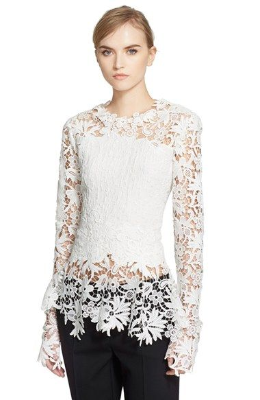Oscar de la Renta Floral Lace & Cloqué Blouse available at #Nordstrom