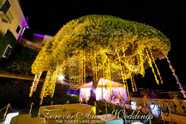 Villa Balbianello wedding, reception on Lake Terrace with crystal marquee and decoration of giant oak tree with hanging flowers. Picture by Steve Tarling ©