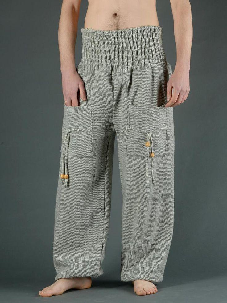 Pantalon bouffant laine à rayures grises (homme)