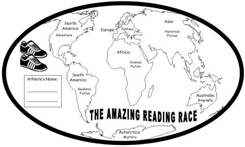 """Amazing Reading Race"" What a great way to get students excited about reading. It also introduces them to each of the different genres."