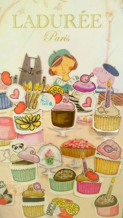 Peppa Pig in Paris third birthday theme.  Kids activity. Built your own cupcake craft from cutouts. I stuck them all on this ladurée board in which I introduced Peppa Pig. Souvenir for my daughter.  Will go in her room.
